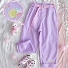 原宿漫画刺繍デニムパンツ女性日本のハイウエストかわいいカジュアル紫パンツ韓国かわいい女の子ワイド脚ズボン