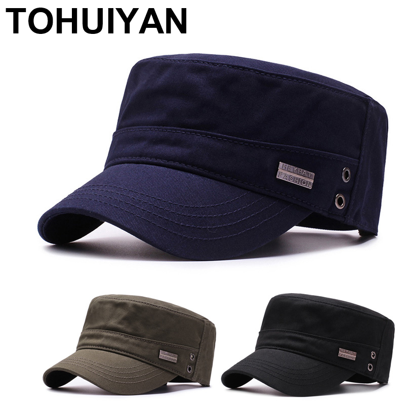 Classic Washed Cotton Military Cap For Men Spring Summer Casual Cadet Hat Male Flat Roof Patrol Hat Vintage Adjustable Army Caps