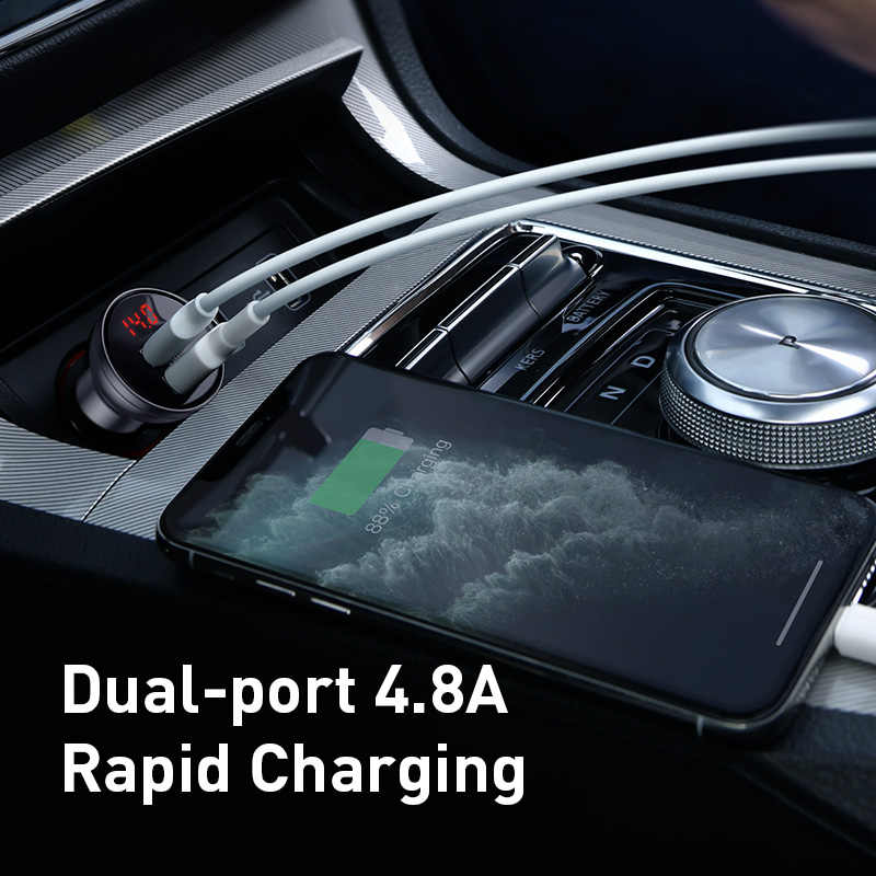 Baseus 24W Dual Usb Car Charger Voor Iphone 11 Samsung S9 Mobiele Telefoon Oplader Voor Huawei Xiaomi Auto Telefoon lader & Led Display