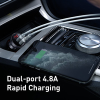Baseus 24W USB Car Charger for Phone 4.8A Fast Mobile Phone Charger Adapter for iPhone Xiaomi with LED Display Car Phone Charger