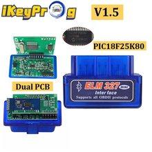 Duplo elm 327 bluetooth v1.5 elm327 pic18f25k80 ferramenta de diagnóstico do carro duplo pcb elm 327 obd2 scanner elm327 1.5 leitor de código obdii