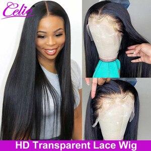 Image 1 - Celie HD dantel ön peruk düz dantel ön peruk 150 180 250 yoğunluk dantel ön İnsan saç peruk HD şeffaf dantel peruk