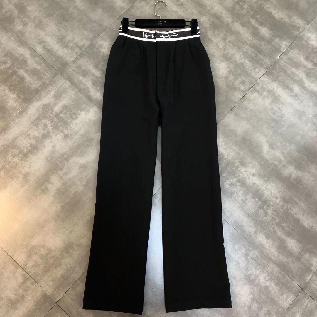 2019 new letter waist waist slimming high waist casual   wide     leg     pants