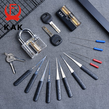 KAK transparente Visible a corte práctica candado cerradura con roto clave eliminar Kit de gancho de Extractor de cerrajero herramienta de la llave