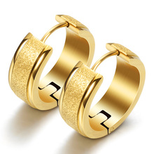 Fine Jewelry Stainless Steel Round 18k Gold Earrings Womens Wedding Fashion Accessories
