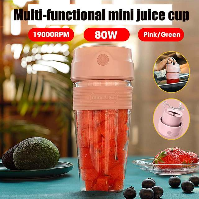 300ml Mini Portable Electric Juicer Small Fruit Cup Fast Smoothie Blender Food Processor Mixer USB Rechargable Quick Juice Maker