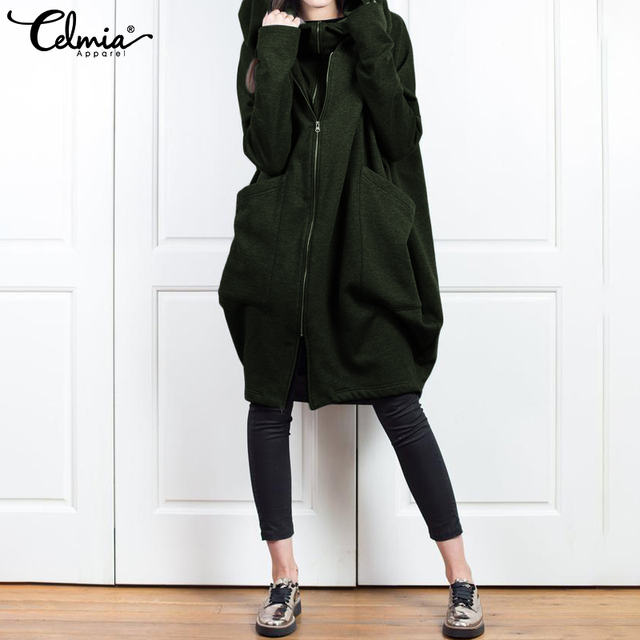 2020 hiver manteaux Celmia sweat à capuche pour femme sweats décontracté à manches longues vestes mode Zip ample à capuche pulls hauts grande taille