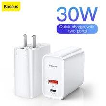 Baseus USB Sạc Nhanh 3.0 Adapter 5A EU Mỹ Cắm Sạc Nhanh Du Lịch Treo Tường Cho iPhone Dành Cho Samsung dành Cho Xiaomi