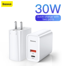 "Baseus Usb מטען מהיר מטען 3.0 מתאם 5A האיחוד האירופי ארה""ב תקע מהיר טעינת נסיעות מטען קיר עבור iPhone עבור Samsung עבור Xiaomi"