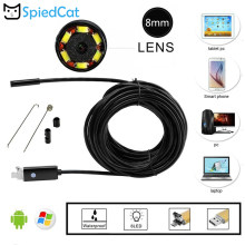 8mm 6led mini objektiv 2in1 1M Kabel USB Endoskop Kamera Schlange Inspektion Boroskop Auto Erkennung Für Android Smartphone PC Fenster(China)