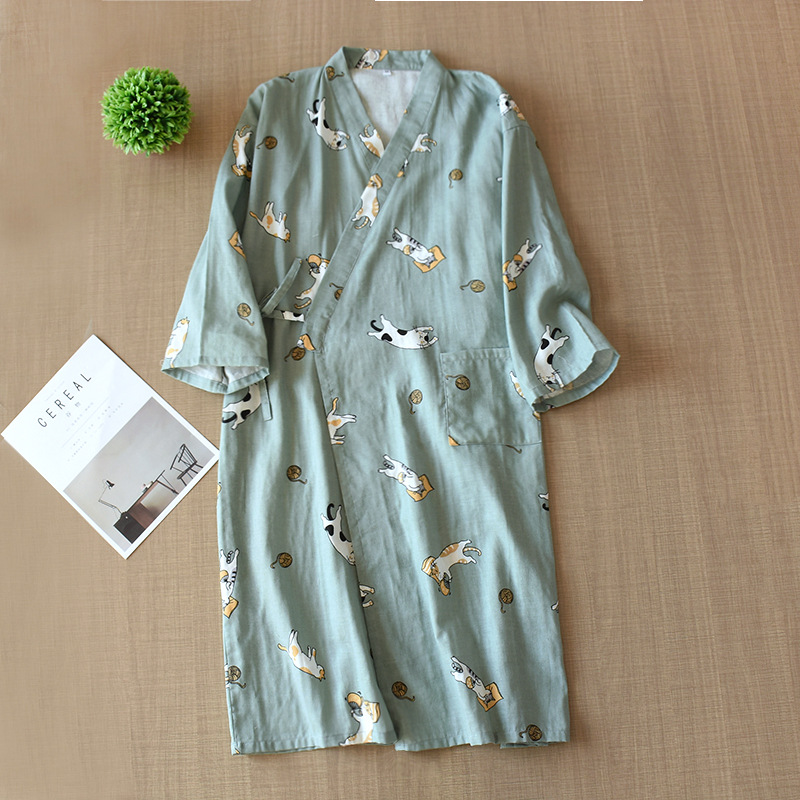 Gauze Cotton Kimono Yukata Men And Women Japanese Bathrobe Loose Pajamas Spring Summer Couple Home Service Robes Traditional