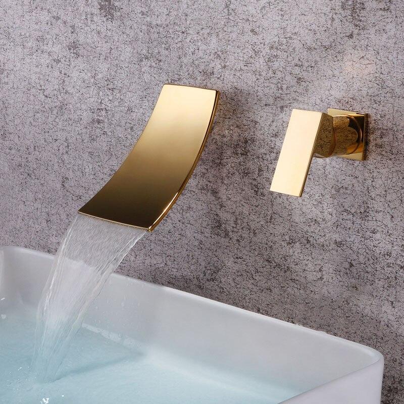 Водопад ванная комната кран настенный широко распространенный холодный горячий смеситель, кран для раковины латунь хромированный/матовый ...