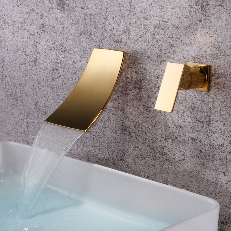 waterfall bathroom faucet wall mounted widespread cold hot mixer basin tap brass chrome plated brushed gold black gold