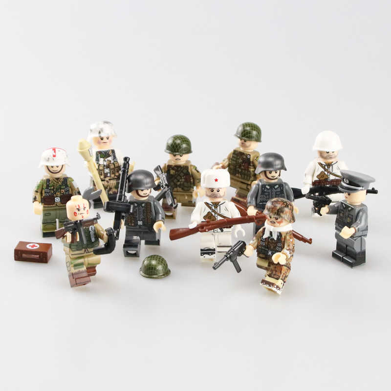 WW2 Military Army Soldier Figures Building Blocks Minifigs Army Soldier helmet Weapon scarf Accessories Bricks Toys for Children