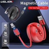 Mini scatola di immagazzinaggio cavo USB magnetico 3A ricarica rapida per iPhone 11 12 cavo Pro tipo C ricarica rapida per cavo retrattile Xiaomi