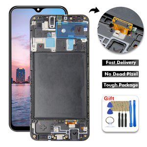 AAA LCD Display For SAMSUNG Galaxy A20 A205G A205F A205FN A205DS LCD Display Digitizer Touch Panel Screen Assembly + Frame