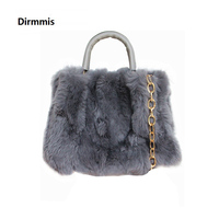 Brand New Fashion Handbag Women Luxury Vintage Bag Elegant Tote Solid Blue Luxury Faux Fur Shoulder Bag Woman Casual Day Clutch