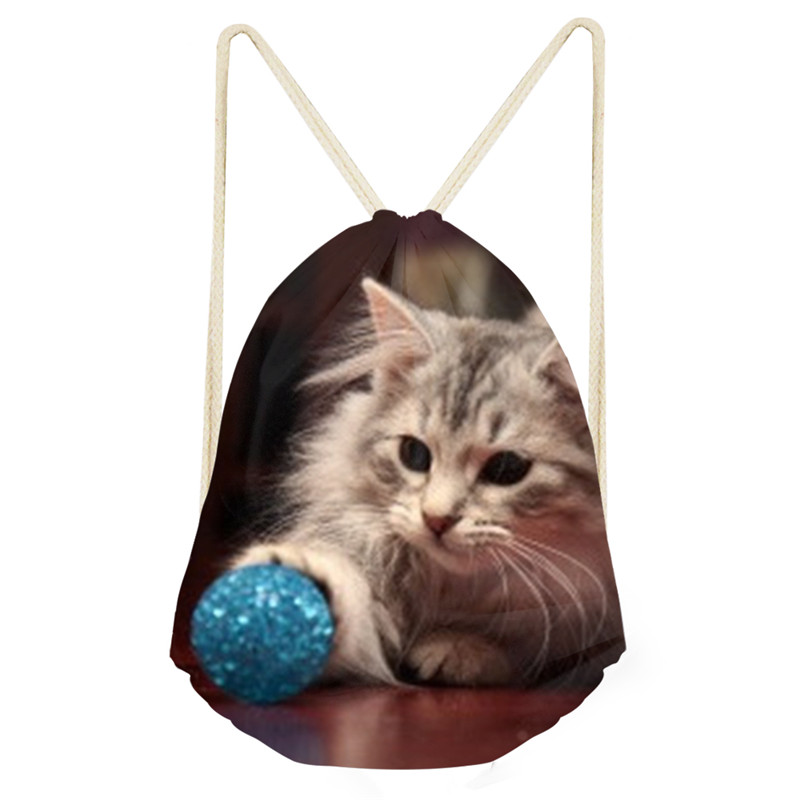3D Naughty Cat Pattern Drawstring Bag Casual Backpack Fashion Print Storage Bags Stylish For Teenagers Boys Girls Travel Rucksac