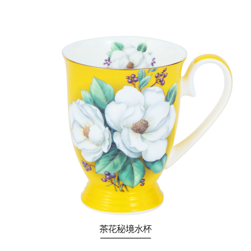 Camellia Series European Style Royal Cup Bone China Ceramic Water Cup Home Gift