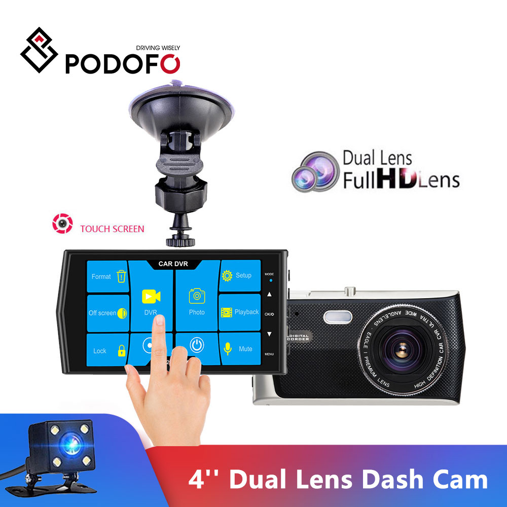 Podofo DVR recorder Touch Screen 4'' Dash Cam Dual Lens Night Vision car dvr autoregistrars video recorder With Rear View Camera|DVR/Dash Camera| - AliExpress