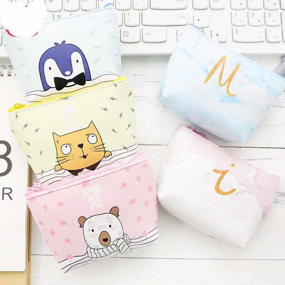 Nova Bonito Dos Desenhos Animados Do Gato Animal Coin Bolsas para Mulheres Meninas Do Bebê Caçoa o Presente PU Carteiras de Couro Com Zíper Chave Bolsa Feminina bolsa Da moeda