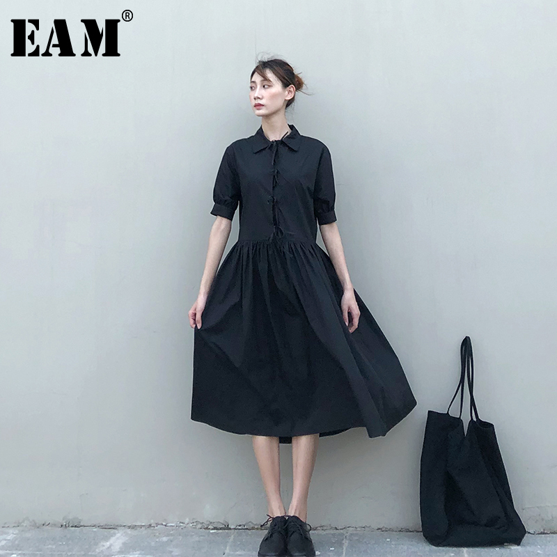 [EAM] Women Black Bandage Plated Temperament Shirt Dress New Lapel Long Sleeve Loose Fit Fashion Tide Spring Autumn 2020 1N637