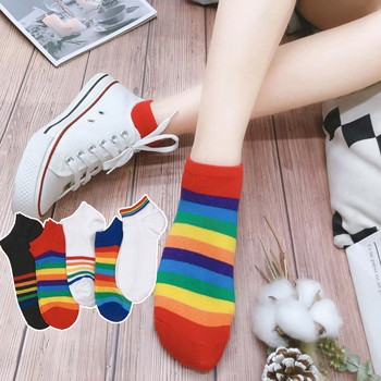 5 pairs Rainbow boat socks spring summer Thin section Low student College style fashion ins ankle short cotton