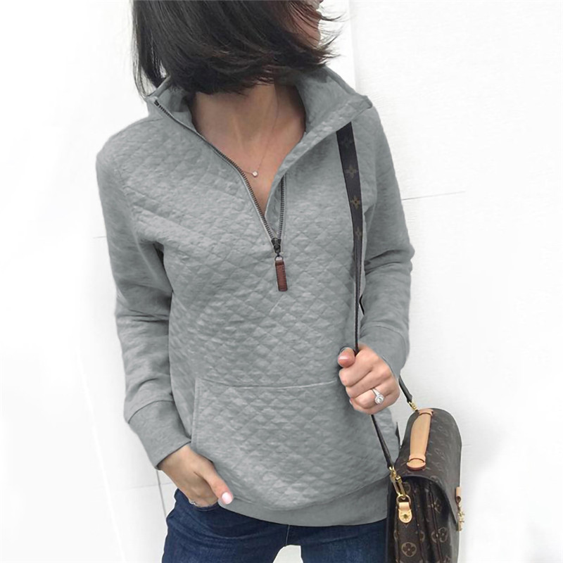 Pockets Zipper Half Open Long Sleeve Women Tops Slim Turn Down Collar Casual Sweatshirts Lattice Autumn Winter Female Hoodies