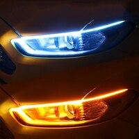 Tira de luces LED DRL para circulación diurna de coche, luces de circulación diurna flexibles e impermeables, señal de giro blanca, flujo de freno amarillo, 12V, 1 ud.