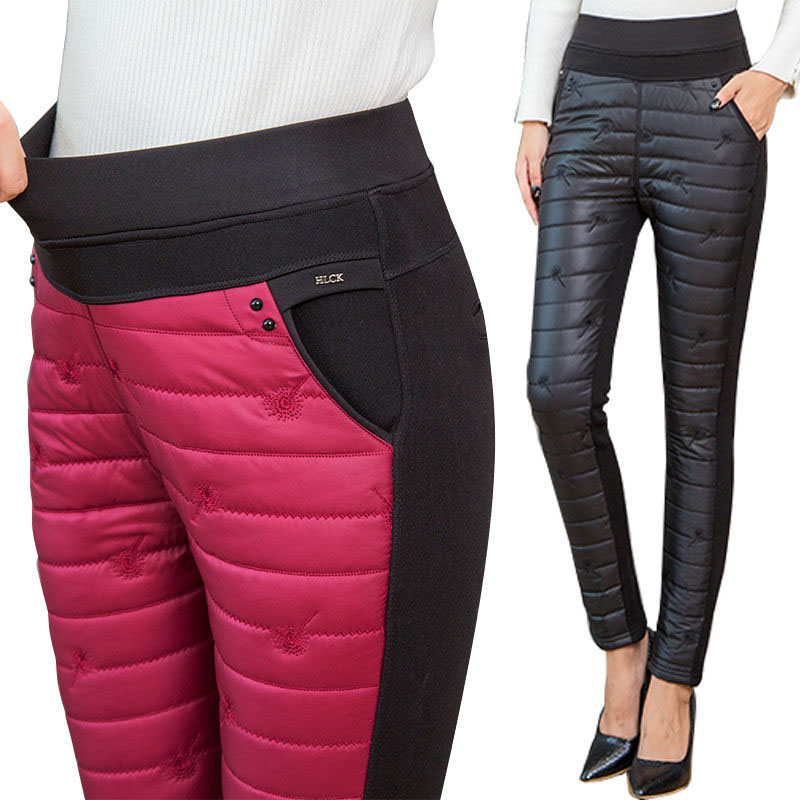 2019 Ladies High Waist New Warm Pants Ladies Duck Down Pants Winter Classic Casual Fashion Pants Tight Size 3xl Ladies