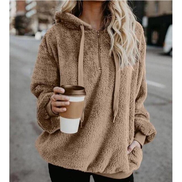 Wipalo Women Fleece Hoodies 2019 Long Sleeve Hooded Pullover Sweatshirt Autumn Winter Warm Zipper Pocket Fur Coat Plus Size 5XL 4