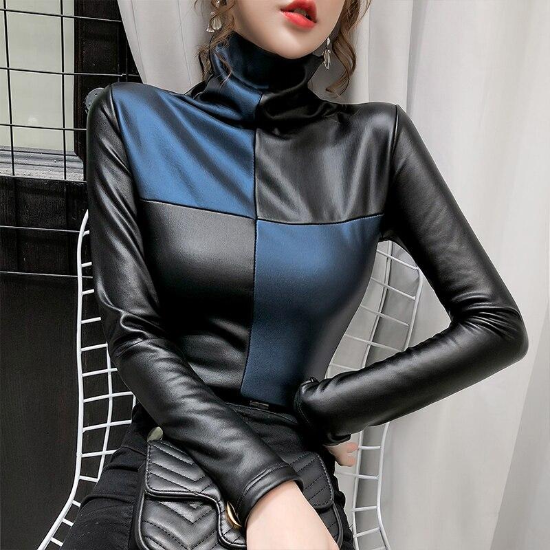 Camisetas de piel sintética con cuello de tortuga y manga larga para mujer, jerseys de cuero PU cálidos, Tops de piel sintética 2020