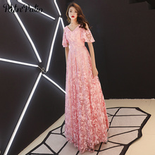 2019 New V-neck Pink Evening Dresses Long Luxury Sequined Lace Gowns For Women Elegant Formal With Cap Sleeves