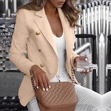 Botón señoras Blazer mujer 2019 traje de trabajo chaqueta de mujer Oficina señora Formal mujeres Blazers y chaquetas Mujer Blazer Mujer 5XL