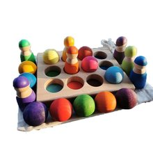 Kids Wooden Toys Color Sorting Wood Balls Rainbow & Pastel Sphere with Tray Unpaint Cup Montessori Peg Dolls and Rings