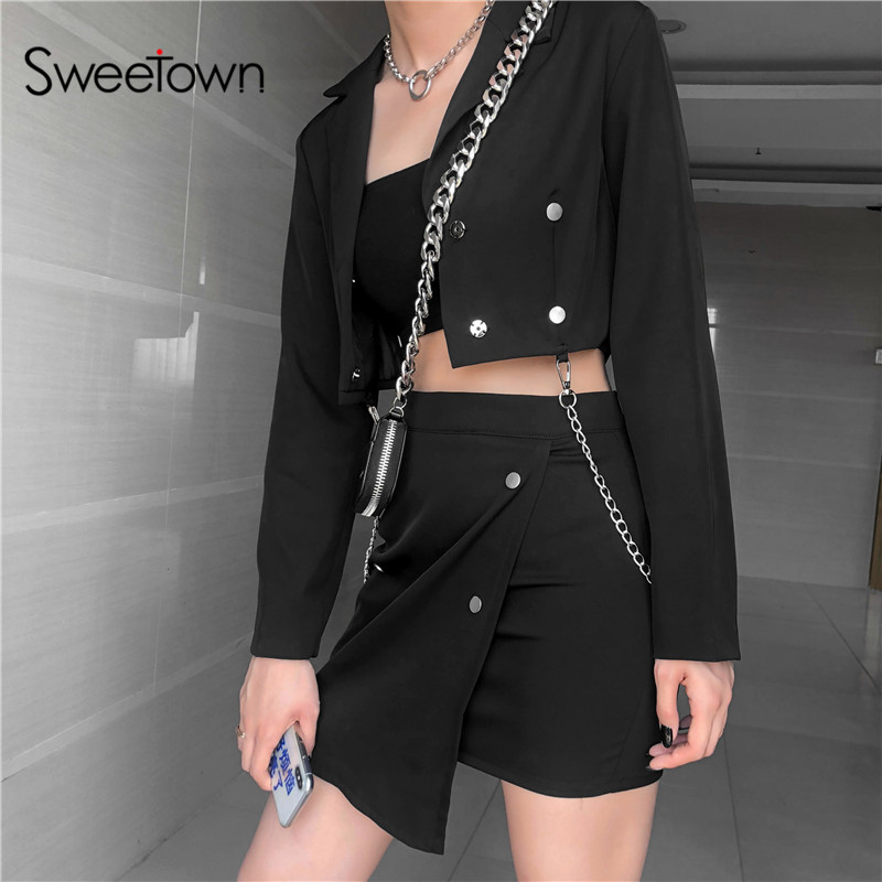 Sweetown Black Two Piece Set Women Jacket And Skirt Set Rivet Metal Chain Long Sleeve 2 Piece Set Office Lady Ladies Tracksuits
