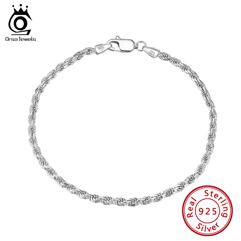 ORSA JEWELS Solid Sterling Silver Authentic Italian Diamond Cut Twist Rope Chain Thick Braided Bracelet for Men and Women SB101