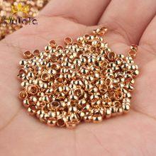 500 adet/grup Metal tükenmez sıkma sonu boncuk 2 2.5 3mm bakır bronz stoper Spacer boncuk Diy takı yapımı için bulguları malzemeleri