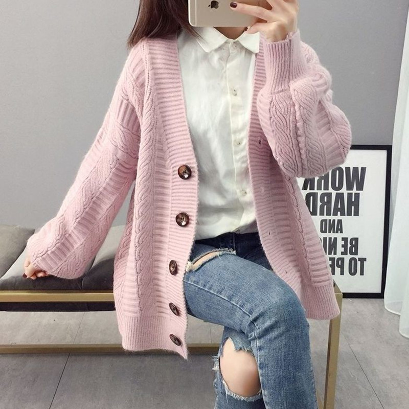 Sweater cardigan jacket female loose Korean student spring and autumn 2021 new sweater trend round button net red hot sale old K 4