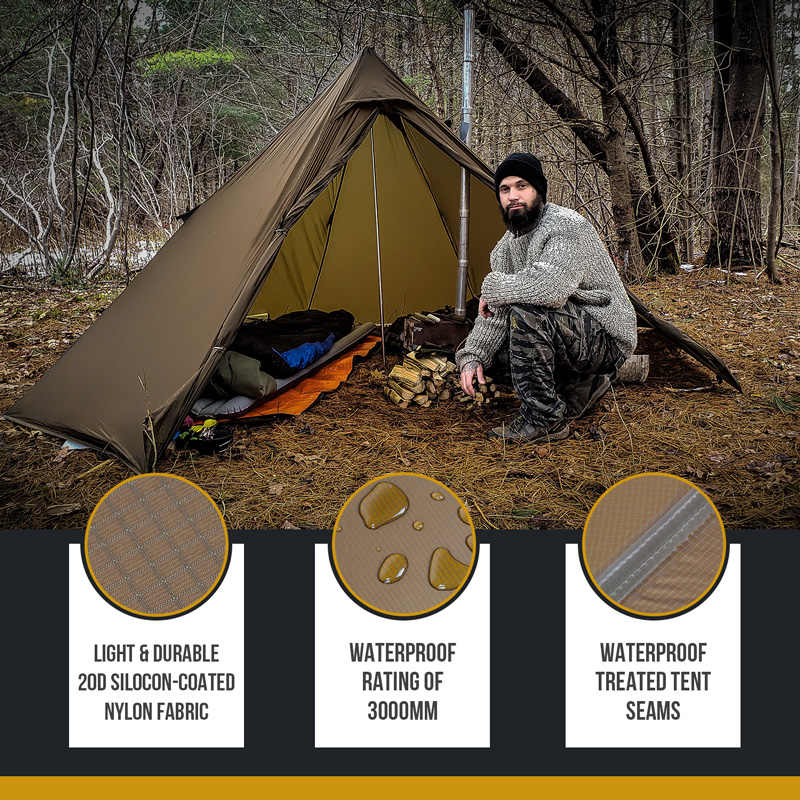 OneTigris namiot kominowy odkryty SMOKEY szałas Ultralight podgrzewany schronienie dla poszukiwaczy przygód Camping 3 sezon podwójny namiot