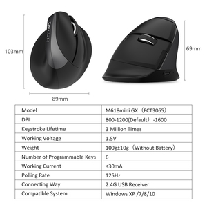 Image 5 - Delux M618Mini GX  Ergonomic Mouse Wireless 2.4GHz  Mouse  1600 DPI Vertical Mice 6 Buttons For Computer and Laptop