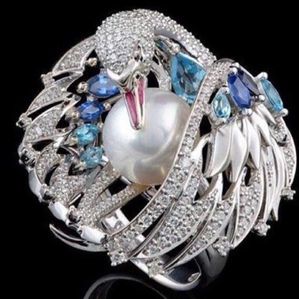 Новинка 2019 винтажные кольца Лебеди с кристаллами для женщин Имитация жемчужное свадебное кольцо ювелирные украшения в подарок Размер 6-10