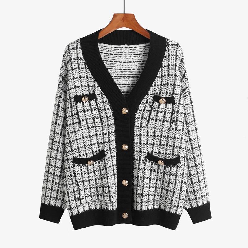 Women Sweater Jacket 2019 Oversized Knitted Cardigans Loose Plaid Jumpers Korean Clothing Robe Long Coat Sueter Feminino