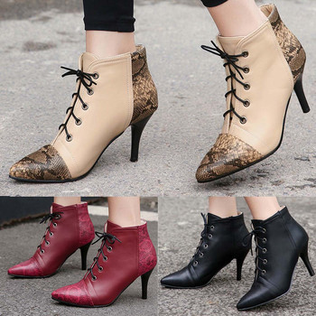 Women Boots Ladies Autumn Fashion Ankle Thin Heels Pointed Toe Shoes Lace-Up Casual Short Boot Female Comfortable Shoes M50#