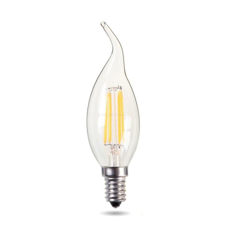 10 шт. высокую яркость затемнения C35 E14 светодиодный вытянутая лампа в форме свечи в ретро-стиле Эдисон светодиодный C35L E14 прозрачное стекло л...