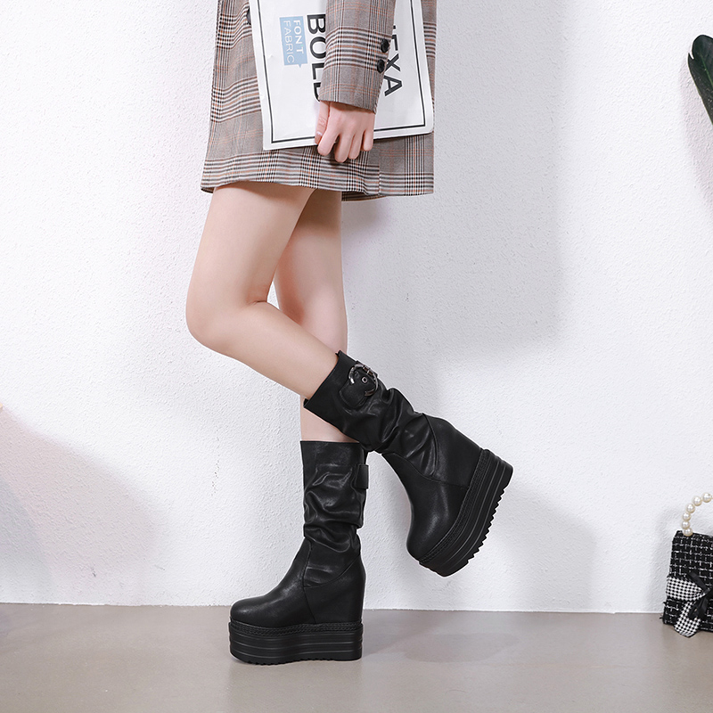 13cm High Heel Middle Tube Boots Increased Within Women's Boots Thick-Soled Martin Boots Retro Wedges Plus Velvet Short Boots