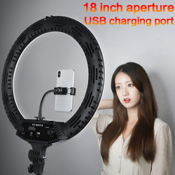 Portable 18 inch LED Ring Light 3200-5500K Photography Dimmable Selfie Ring Lamp for Makeup Youtube Video Live Broadcasting