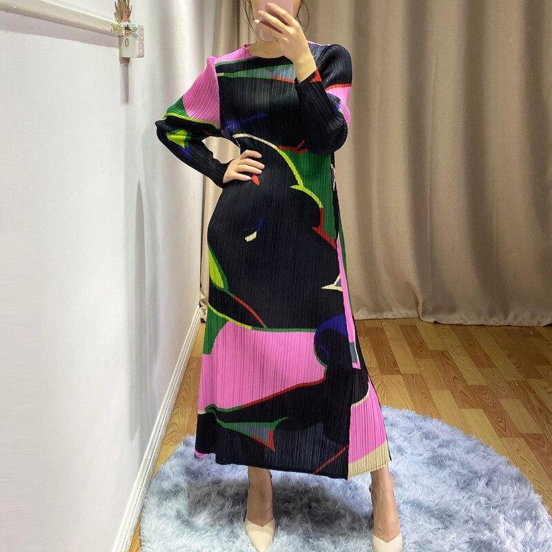 LANMREM 2020 Новое Плиссированное женское платье высокого качества с принтом, эластичное платье с длинным рукавом на весну и лето, женская одежда...