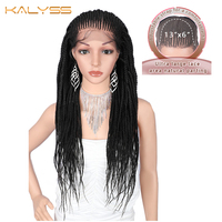 Kalyss 29 Inches 13x6 Hand Braided Wigs Synthetic Lace Front Wig for Black Women Natural Black Box Braids Wig with Baby Hair