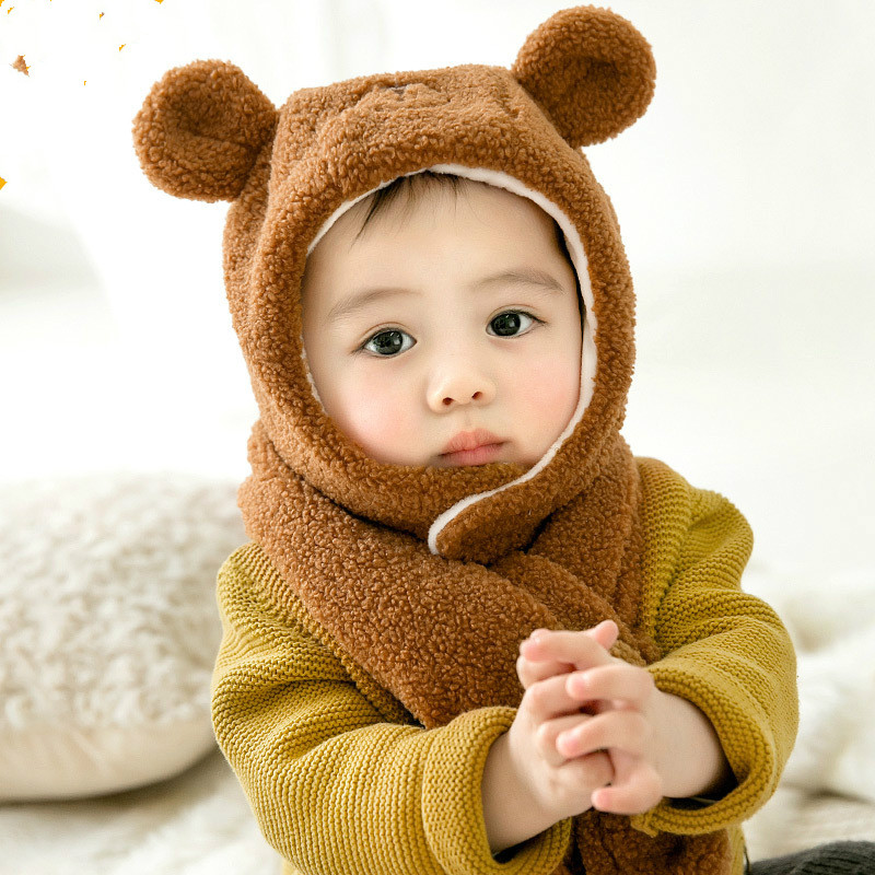 New Cute Baby Kids Fur Hat Scarf Set Princess Bear Style Plush Baby Autumn Winter Head Accessories